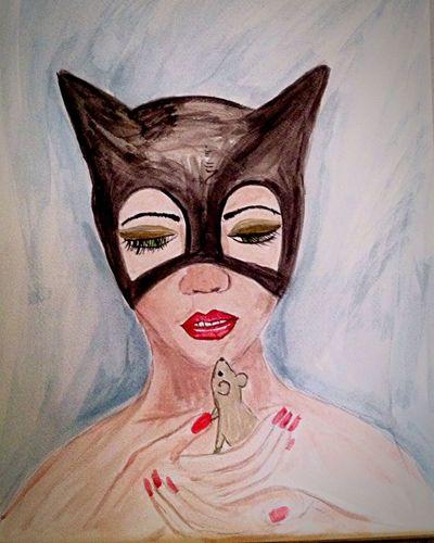 Cat Catwoman Gatubela Acuarela Arte ArtWork Art Art, Drawing, Creativity Art. Relaxing