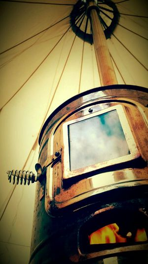 Camping Tent Clouds And Sky Reflection Woodburning Stove