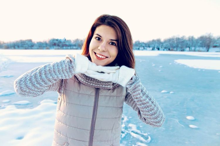 Winter Is Finish Winter Cold Temperature Warm Clothing One Person Snow Smiling Young Adult Happiness Clothing Nature Beauty Young Women White Color Emotion Looking At Camera Portrait Women Beautiful Woman Scarf Outdoors