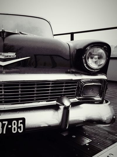 The impressive nose if a classic Chrysler. Classic Car Chrysler Black And White No People