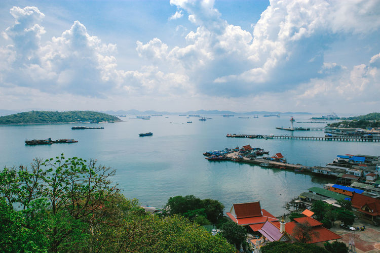 SICHANGISLAND Thailand Beauty In Nature Cloud - Sky Day Freight Transportation Harbor High Angle View Landscape Mode Of Transportation Nature Nautical Vessel No People Outdoors Plant Sailboat Scenics - Nature Sea Ship Sichang Sky Thailandtravel Tranquil Scene Transportation Water