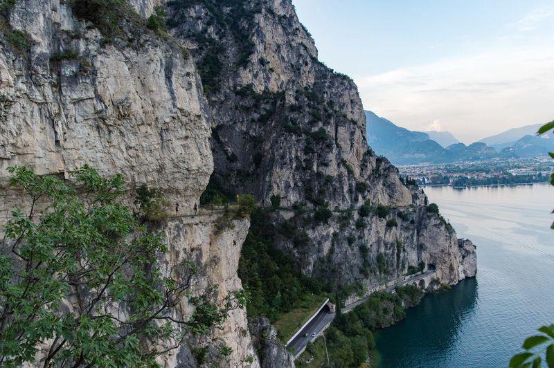 Wonderful view of riva del garda and garda lake from ponale street