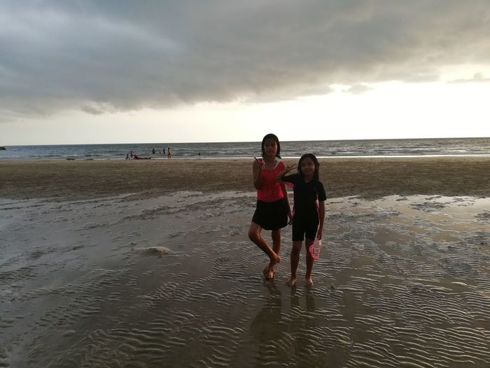 Children enjoy on summer trip 2019,หาดเจ้าหลาว Sea Beach Sky Land Water Horizon Over Water Horizon Real People Beauty In Nature Cloud - Sky Leisure Activity Togetherness Scenics - Nature Sand Child Nature Lifestyles Full Length Boys