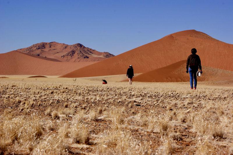 People on desert against clear sky
