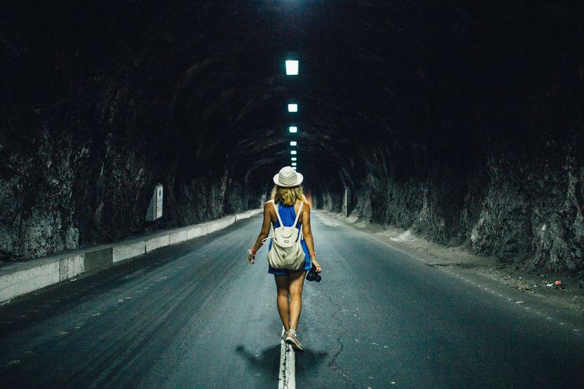 Girl walking towards the end Dark, Girl Light Road Road Tunnel Túnel, First Eyeem Photo
