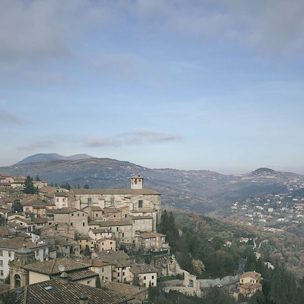 Mountain Architecture Building Exterior Built Structure Mountain Range House No People Residential Building Umbria Central Italy Perugia Old Town Town On The Hill Stone City Italian City Perugia Italy Town Day High Angle View Sky Cityscape Nature Beauty In Nature Tree City