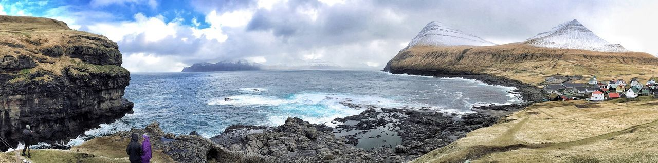 Faroe Islands Panoramic Ocean View Atlantic Ocean Sky And Clouds Sky And Sea Dramatic Sky Nature_collection Shore Coastline Cloud - Sky Non-urban Scene Beauty In Nature Water Sea Rock - Object Tranquil Scene Mountain Scenics Sky Beach Tranquility Cliff Rock Formation Geology Nature Remote