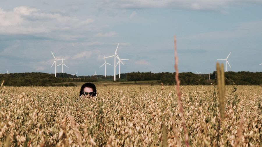 -Spot the Tourist- Portrait Portrait Of A Friend Field Open Space Windmill Countryside Freedom Farmland Escape Foreground