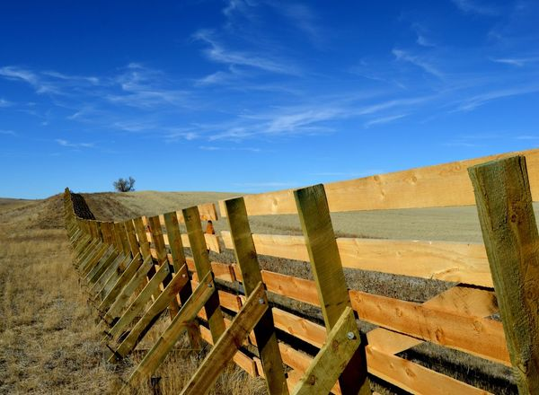 New snow fence Beautiful Blue Sky☁ Day Near Manville Next To Highway 18 No People Outdoors Very Sturdy West Of Lusk Wyoming