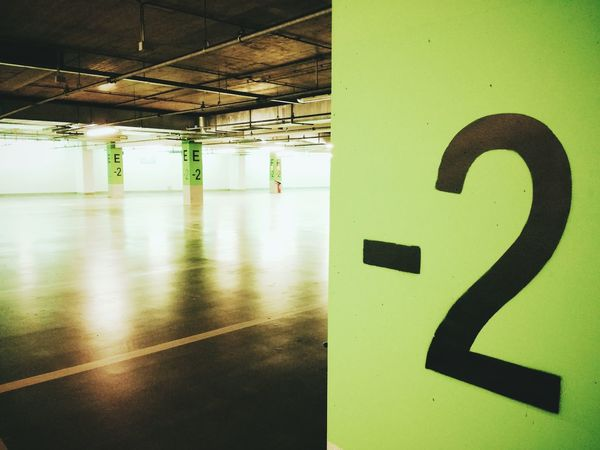 Minus 2 Parking Green Empty Underground Underground Parking Number Backlight Emptiness