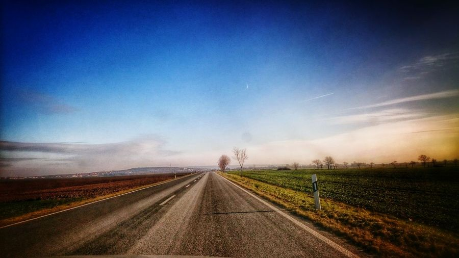 Beautiful day! Enjoying Life Landscape Road Blue Sky Sunny Day Vanishing Point Colorful On The Road
