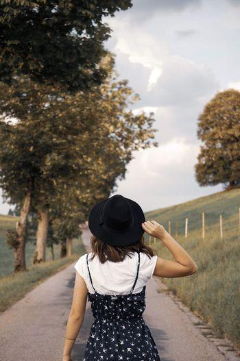 Let's go! Tree Women Rear View Standing Sky Posing Hiker Wearing Sun Hat