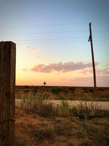 """""""Post to Pole"""" A West Texas sunset over the cotton fields. Landscape Outdoors Sky Field Scenics Sunset Telephone Line Dusk Evening Sky Clouds Clouds And Sky Texas Texas Skies Texas Landscape Texas Sky Westtexas Westtexasskies Cottonfields Fenceposts Telephone Pole"""