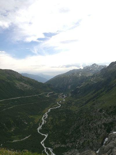 Furkapass Swiss Alps River Mountains View Road