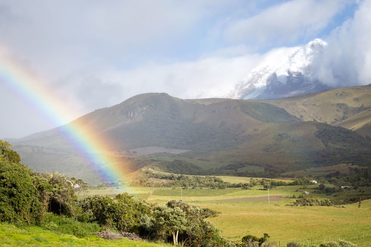 Catambe volcano in Ecuador with a rainbow. Rainbow Colors Beauty In Nature Cloud - Sky Day Double Rainbow Environment Grass Land Landscape Mountain Mountain Peak Multi Colored Nature No People Non-urban Scene Outdoors Plant Rainbow Rural Scene Scenics - Nature Semi-arid Sky Tranquil Scene Tranquility Volcano The Great Outdoors - 2018 EyeEm Awards Capture Tomorrow