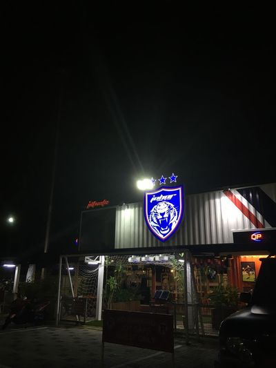 Cafe johpr Night Illuminated Flag No People Outdoors Architecture Sky
