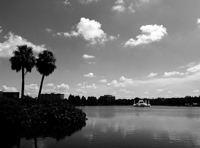 Love spending time by this Lake. Lake Eola Park Orlando Florida Nature Hanging Out Water No People Lake The City Beautiful Sunday Sky