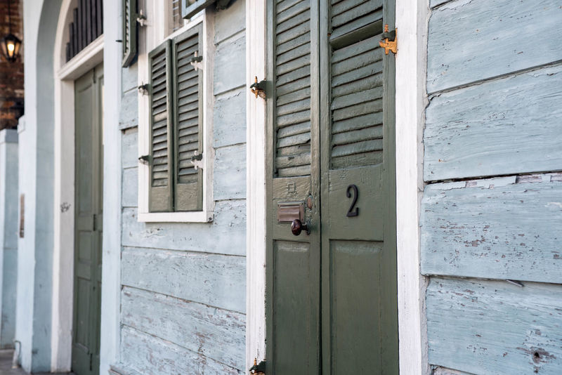Doors architecture Door Building Exterior Architecture Outdoors Residential Building Window Day Built Structure Façade blue No People Close-up new Orleans french shutter french french quarter rustic shabby Historic Katrina