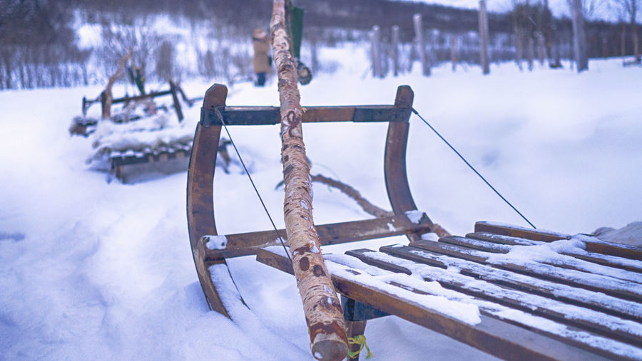 Winter Wintertime Snow Cold Cold Temperature Nature Frozen No People Water Focus On Foreground Beauty In Nature Outdoors Wood - Material Scenics - Nature Tranquility Snowing Reindeer Sleigh Ride Sami People