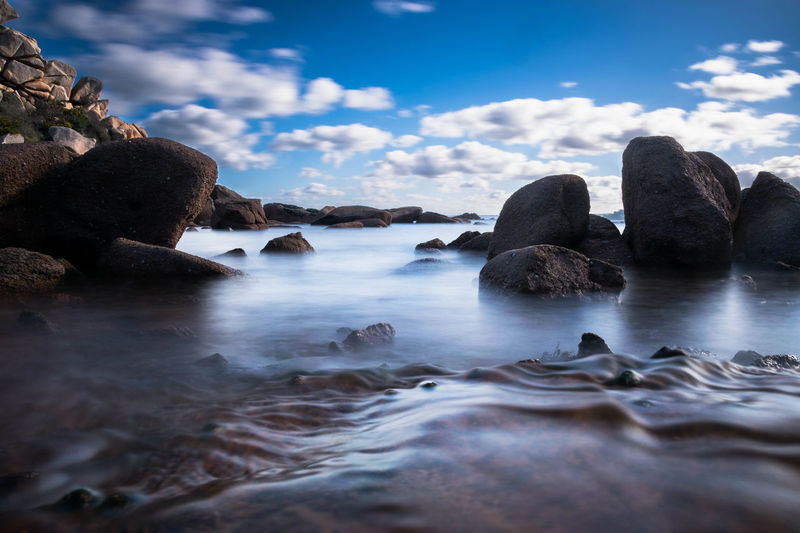 Waves at rocky shore against sky