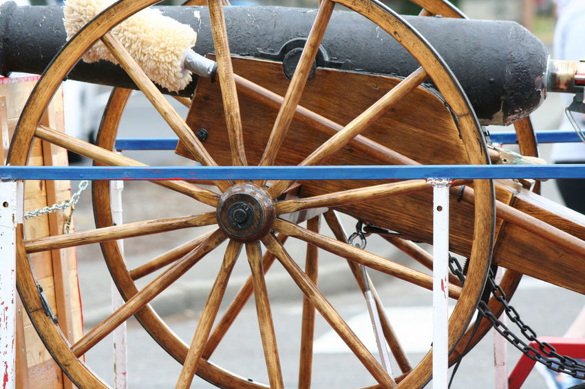 4th Of July 2016 4th Of July Parade Cannon Close-up Cropped Day Detail Focus On Foreground Machine Part Metallic No People Old Outdoors Parade Part Of Spoke Tire Wheel Festival Season Sommergefühle