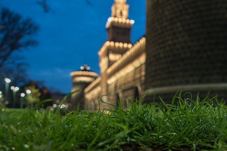 Castello sforzesco in the night Green Close Up Architecture Building Exterior Built Structure Grass Outdoors No People Travel Destinations Night Sky Nature City