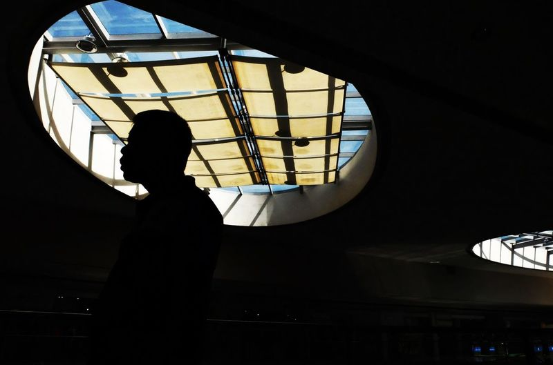 Low angle view of silhouette people