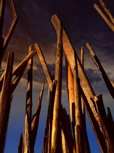 Low angle view of wooden posts against sky