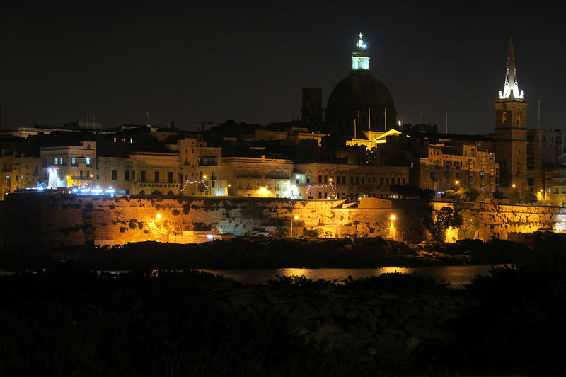 Valletta, Malta night view from Sliema. View of Dome of Roman Catholic Basilica of Our Lady of Mount Carmele and St Paul's Pro-Cathedral tower. Carmelites Cathedral Catholic Catholic Church Cityscape Cupola Dome Heritage Landmark Malta Malta Night View Maltese Medieval MedievalTown Old Town Religion St Paul's Pro-Cathedral Malta Travel Travel Destinations Travel Photography Traveling Travelphotography Unesco Malta Valletta Valletta Night Landscape