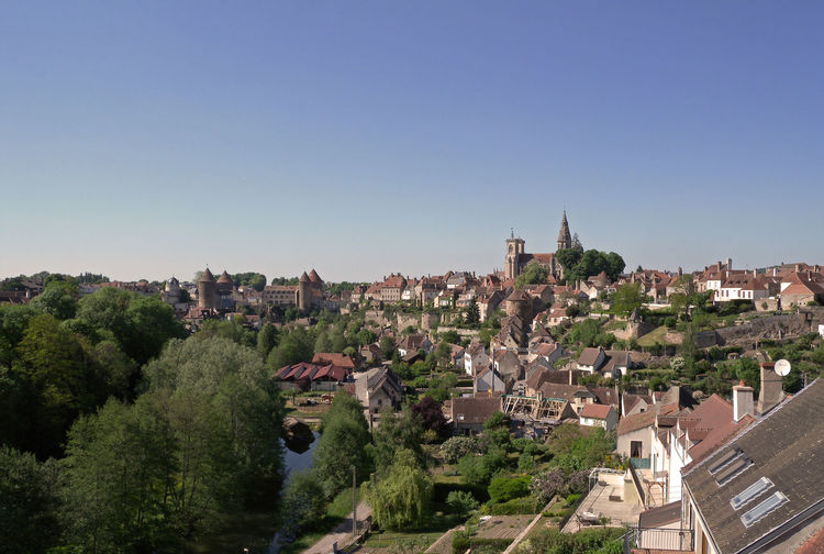semur en auxois Bourgogne France Architecture Building Built Structure City Cityscape Clear Sky Copy Space Day High Angle View House Nature No People Outdoors Plant Residential District Roof Semur-en-auxois Sky Town TOWNSCAPE Tree Village View