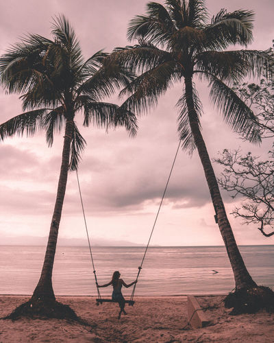 Woman on swing by palm trees at beach during sunset