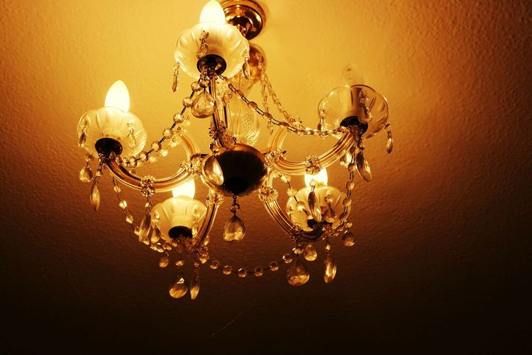 Light Chandelier No People Close-up Luxury Indoors  Low Angle View Fragility Illuminated Gold Colored Shiny Yellow Hanging First Eyeem Photo