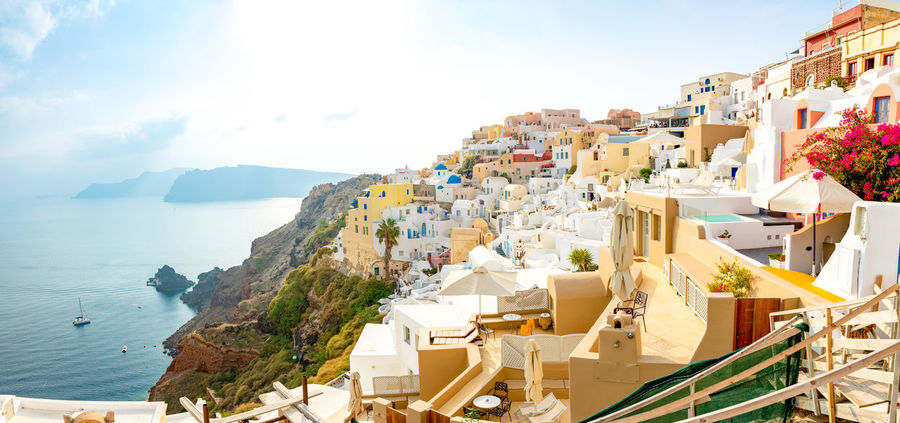Greece Santorini Oia Thira Architecture Water Building Exterior Built Structure Sea Sky Nature Building Day City Travel Destinations Travel Sunlight Residential District Scenics - Nature No People Beauty In Nature Plant Mountain Outdoors Luxury
