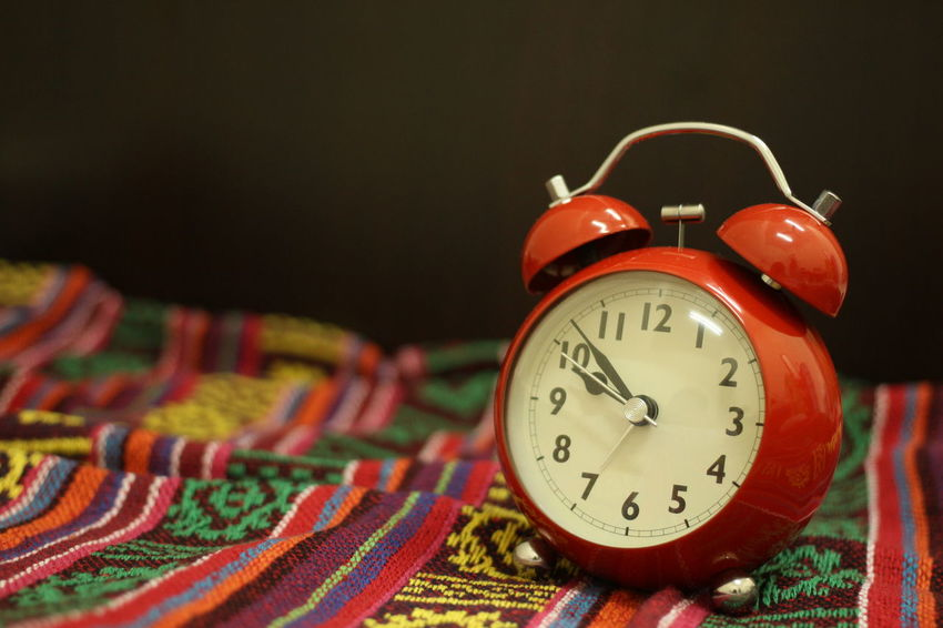 Timing Alarm Clock Blancket Clock Clock Face Close-up Cloth Colorful Day Indoors  Multi Colored No People Numbers Red Time Vintage