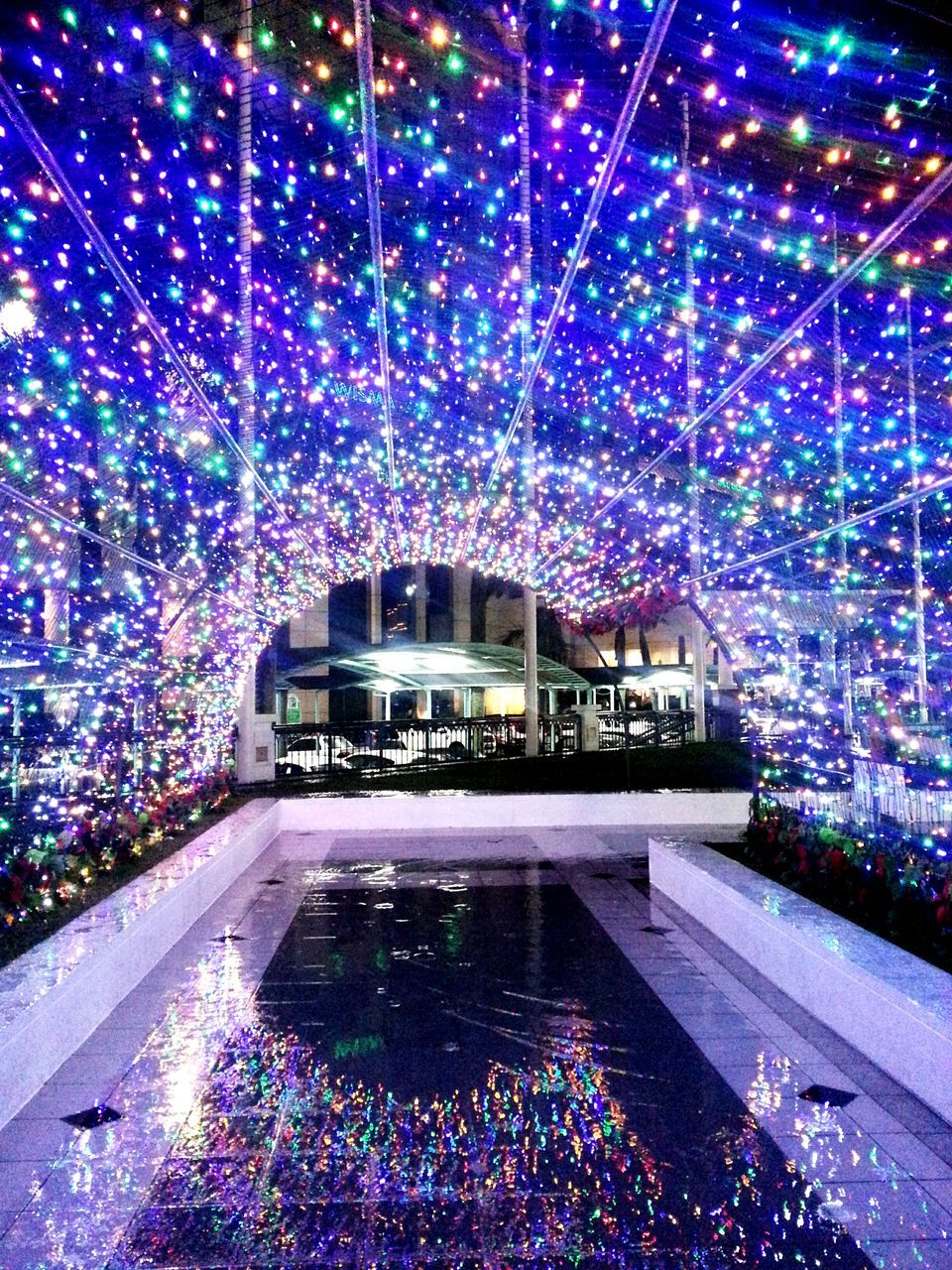 illuminated, water, swimming pool, night, outdoors, multi colored, architecture, no people, modern, ice rink