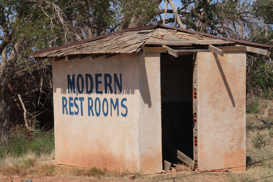 Not so Modern Rest Rooms Abandoned Architecture Building Exterior Built Structure Communication Contradiction Day Derelict Exterior Façade Ghost Town Old Route 66 Outdoors Text USA Western Script