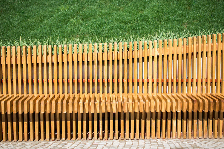 High angle view of wooden fence on field