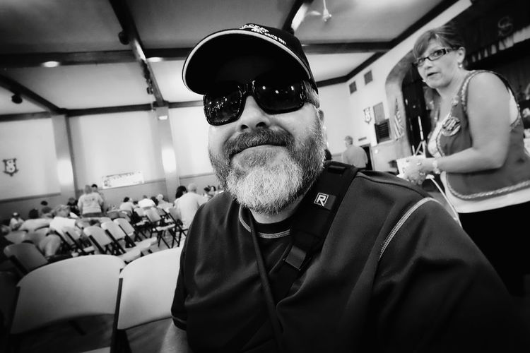 Hanging out before the band and crowd arrives, I found some sunglasses at our table after laughing at me my wife takes my picture 😁📷👆 Czech Festival That's Me! Cheese! Sunglasses A Day In The Life Monochrome Outsiderin