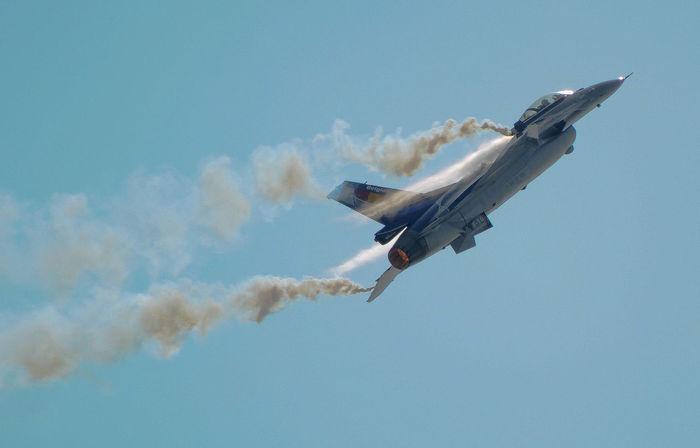 Blue F16 F16fightingfalcon Fighter Jet Jets Smoke Sky Military
