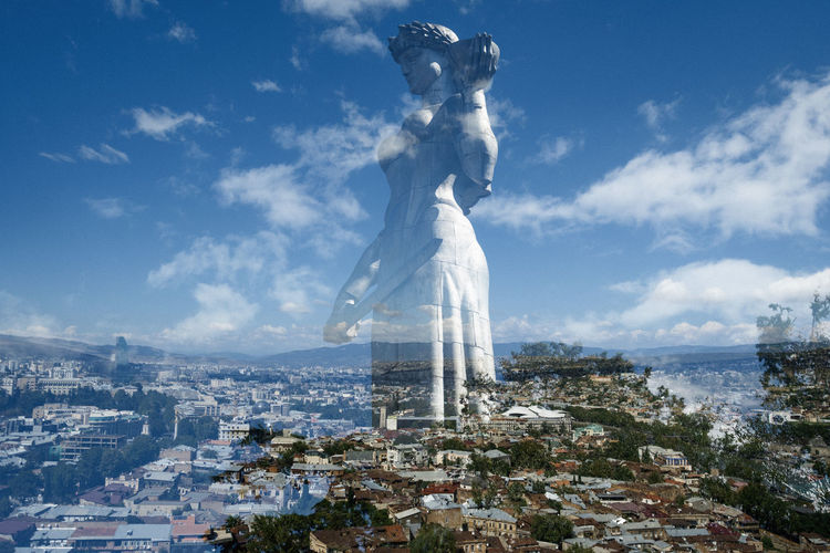 Defender Landscape Double Exposure Panorama Cityscape Statue Monument Historic Old Town Blue Sky Summer White Clouds Metal Sculpture Linas Was Here