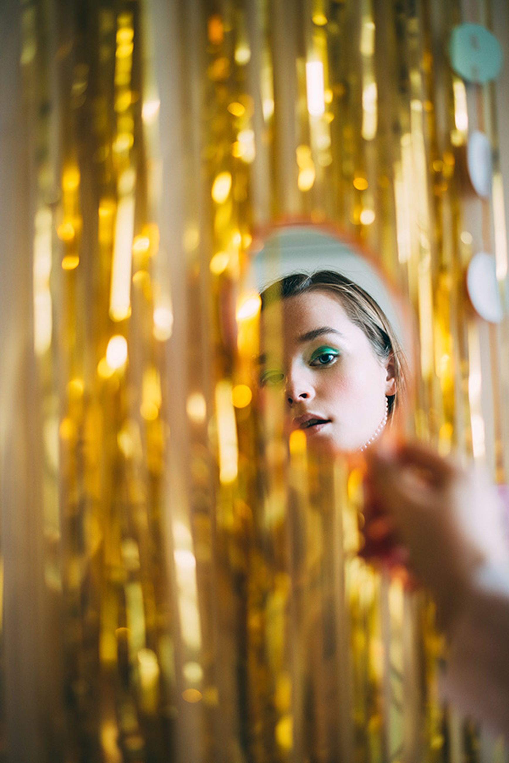 futuristic, gold colored, one person, beauty, gold, beautiful people, close-up, portrait, one woman only, illuminated, indoors, people, adults only, only women, real people, young adult, adult, cyberspace, scientist