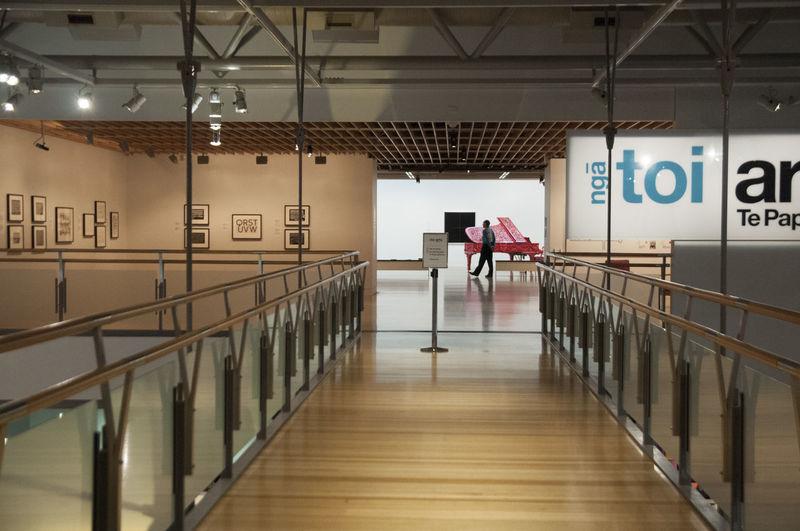corridors and indoor bridge at Te Papa Wellington  Architecture Building Direction Indoors  Railing Staircase Te Papa