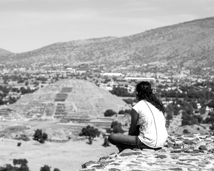 Imagining the past. History 14174307 Women Of EyeEm Historical Site View From The Top Piramide Del Sol Piramide Exploring Inner Power Mexico Mexico City Pyramid Adventure Ancient Civilization Architecture Blackandwhite Built Structure Cdmx Go Higher Landscape One Person Outdoors Prehispanic Sitting Sky Teotihuacan Travel Destinations Women Summer Exploratorium This Is Latin America Focus On The Story Visual Creativity Going Remote #FREIHEITBERLIN The Traveler - 2018 EyeEm Awards The Great Outdoors - 2018 EyeEm Awards Creative Space Urban Fashion Jungle Be Brave Summer In The City A New Beginning This Is Strength This Is Natural Beauty