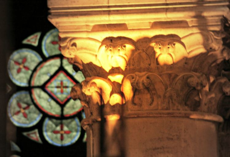 Close-up Column Columns And Pillars Focus On Foreground Illuminated No People Ornate Paris Stained Glass