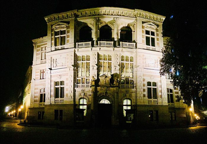 Panoramic Photography Building Exterior Architectural Column Outdoors Night