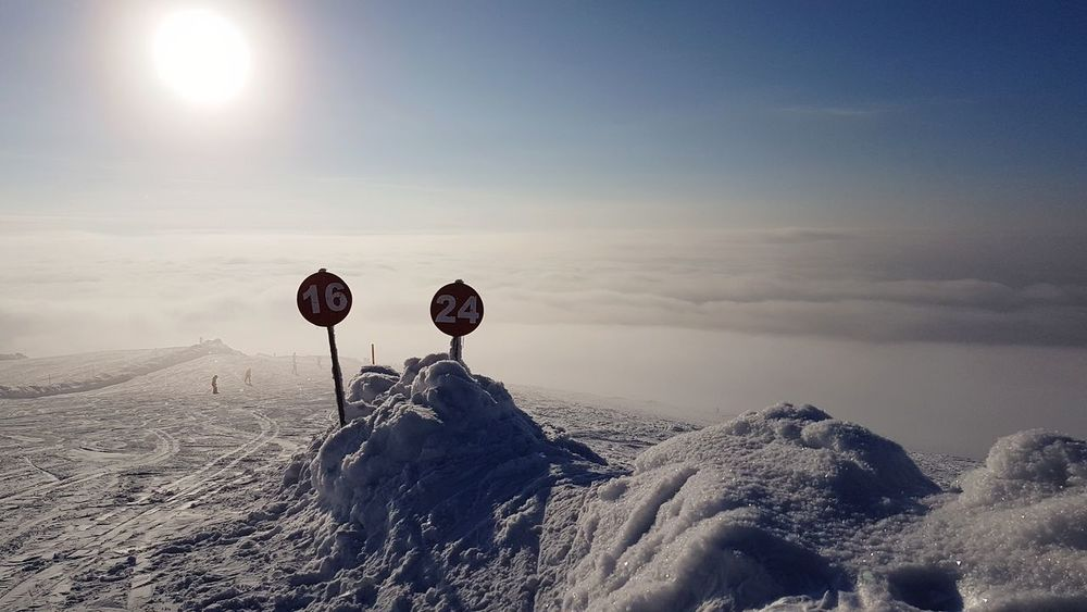 signs above the clouds Snow Downhill Skiing Piste Finland Alpine Skiing EyeEm Selects Silhouette Outdoors Landscape Nature Sky Cold Temperature Day Scenics