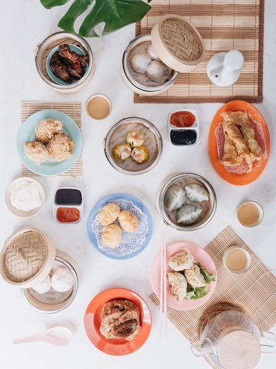 Flatlays of dim sum. Breakfast EyeEm Selects Food And Drink Food Table High Angle View Freshness Directly Above Healthy Eating No People Plate Still Life Choice Indoors  Meal Variation Ready-to-eat Wellbeing Bowl Serving Size Drink Bread
