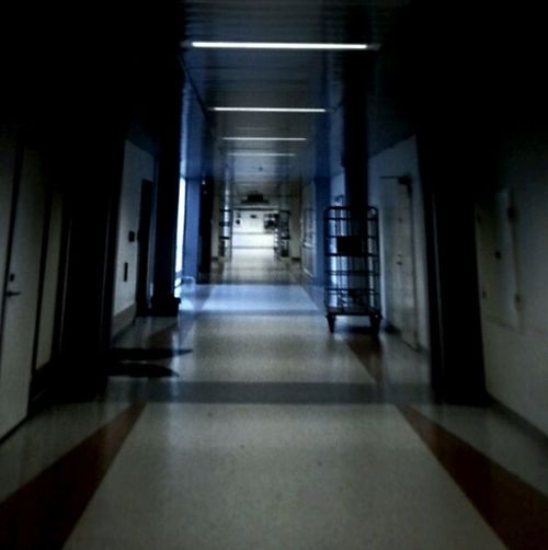 A visit to the Hospital , found this Empty Hallway , Hardly any filter, Spend The Night ?