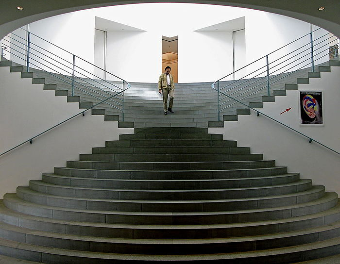 Art Museum Art Museum, Bonn Bonn Art Museum Centered Diabolo Flight Of Steps Grey Staircase Grey Steps Handrails Indoors  Loneliness Man People Railing Railings Rails Real People Staircase Stairs Steps Visitor Visitors