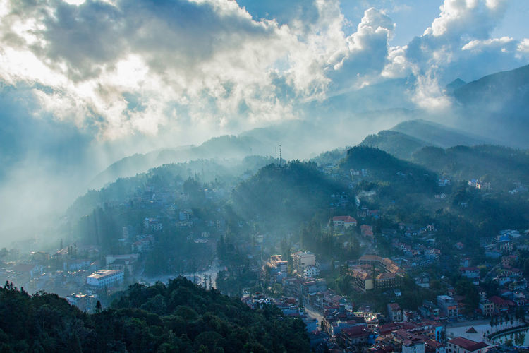 Aerial view the hill town in sapa city with sunnu light in sapa, lao cai, vietnam.